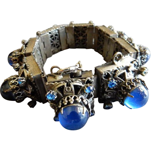 Art Deco Bohemian Royal Blue Cabochon & Rhinestone Antique Silver-Tone Link Bracelet - Over The Top Design