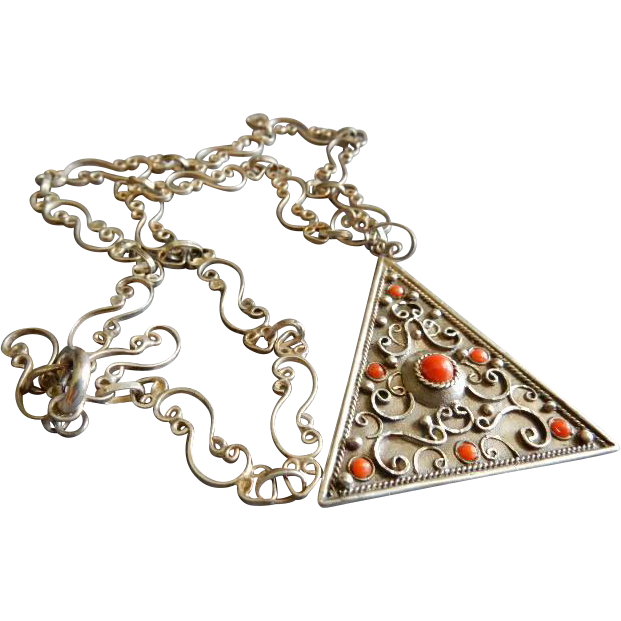 "Mid Century Sterling Silver ""Triangle"" Pendant Necklace w/Coral Cabochons"