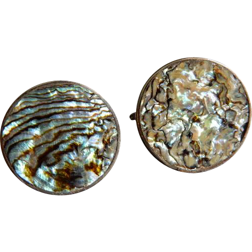 Mexican Sterling Silver Abalone Shell Gentleman's Cuff Links