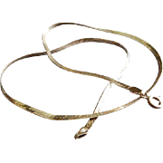Vintage Sterling Silver Flat Chain Necklace - 15 1/2 Inches in Length