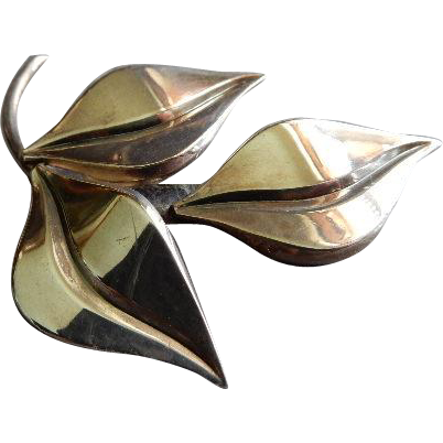 S Christian Fogh Danish Modernist Sterling Silver Leaf Brooch