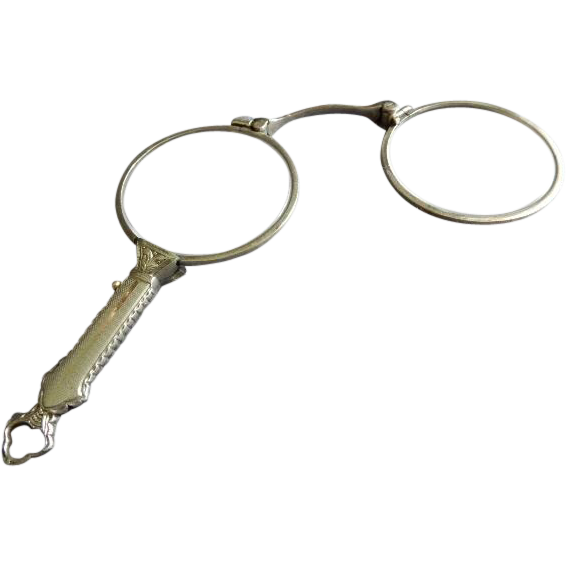 Victorian Style Silver Plated Folding Lorgnette/Opera Glasses
