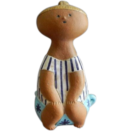 "Gustavsberg - Lisa Larson - "" Lotta on a Pot"" Art Pottery Figurine"