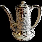 Belleek Porcelain Sterling Overlay Coffee Pot