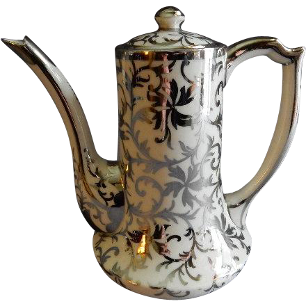 Belleek Porcelain Sterling Overlay Coffee Pot