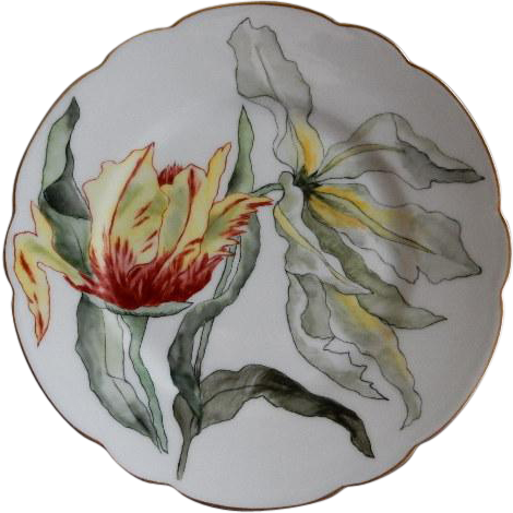 Charles Haviland & Co. Hand Painted Cabinet Plate w/Parrot Tulip Motif - Artist Signed