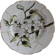 Charles Haviland & Co. Hand Painted Cabinet Plate w/Magnolia Blossoms Motif - Artist Signed