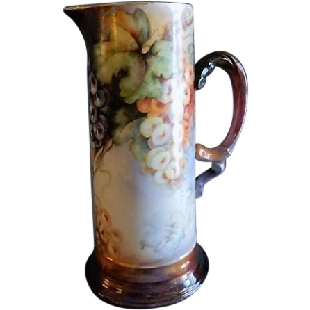 Jean Pouyat (JPL) Limoges Hand Painted Tankard Pitcher w/Grapes Motif