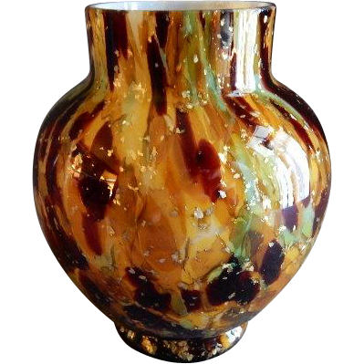 Vasa Murrhina Cased Glass Vase w/Gold Mica Flakes