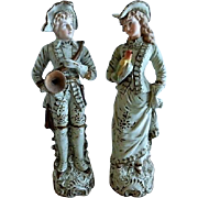 Pair of Victorian-Style Bisque Figurines - French Lady & Gentleman