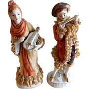 Pair of Victorian-Style Porcelain & Lace Figurines - French Lady & Gentleman With Musical Instruments