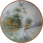 Pickard Studio Hand Painted Country Scenic Pattern Cabinet Plate -  Vellumn Finish