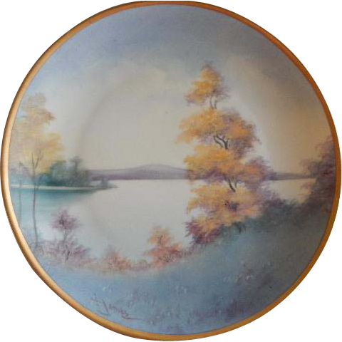 Pickard Studio Hand Painted Country Lake In Autumn Scenic Pattern Cabinet Plate -  Vellumn Finish - Signed F. James