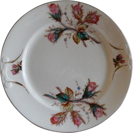 "Early Ironstone China ""Moss Rose"" Pattern Dinner Plate"