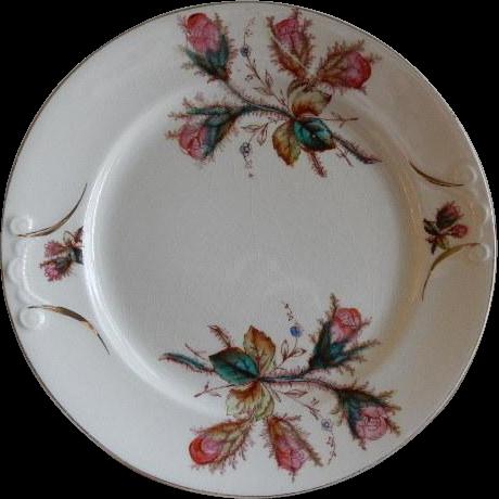 "Early Ironstone China ""Moss Rose"" Pattern Dinner Plate"