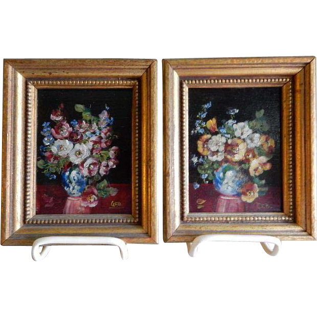 Pair Of Oil Paintings By Listed Indiana Artist G F Bastian