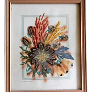 Vintage Feather, Weed & Grass Flower Craft Picture by Ida Bisek Prokop