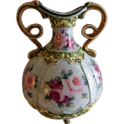 Antique Nippon Moriage Hand Painted Vase w/Rose Blossoms, Beads, Curled Handles & Footed