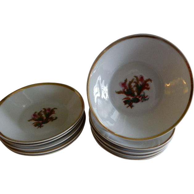 "1870's  Charles Haviland & Co. Limoges ""Moss Rose"" Pattern - Set of 10 Fruit/Sauces Bowls"