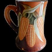 T&V Limoges Hand Painted Tankard Stein w/Ears of Corn Motif