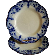 Johnson Bros. Flow Blue 'Jewel' Pattern Dinner Plates - Set of 2