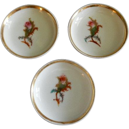 "Set of 3 - 1880's Charles Haviland & Co. Limoges ""Moss Rose"" Pattern Individual Butter Pats"