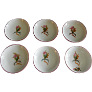 "Set of 6 - 1880's Charles Haviland & Co. Limoges ""Moss Rose"" Pattern Individual Butter Pats"