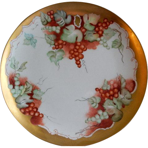 Home Studio Hand Painted Charger Plate W Currants Motif