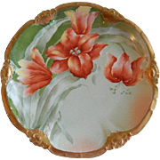 """Coronet"" Limoges France Factory Decorated Charger Plate w/ Orange Tiger Lilies Motif - Signed Brisson"