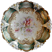 RS Prussia, Unmarked, Lily Mold #29 Cake Plate w/Lily Blossoms Motif