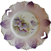 RS Prussia, Unmarked, Mold #90 Cake Plate w/Clematis Blossoms Motif