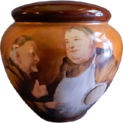 GDA France Hand Painted Tobacco Humidor w/Portrait of Two Monks