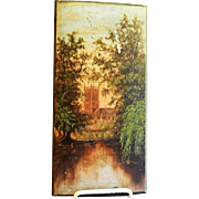 Victorian Era Primitive Scenic Castle Oil Painting on Wood Panel