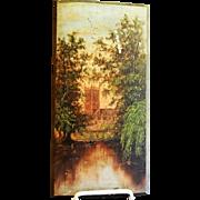 Victorian Era Primitive Scenic Castle Oil Painting on Wood Panel