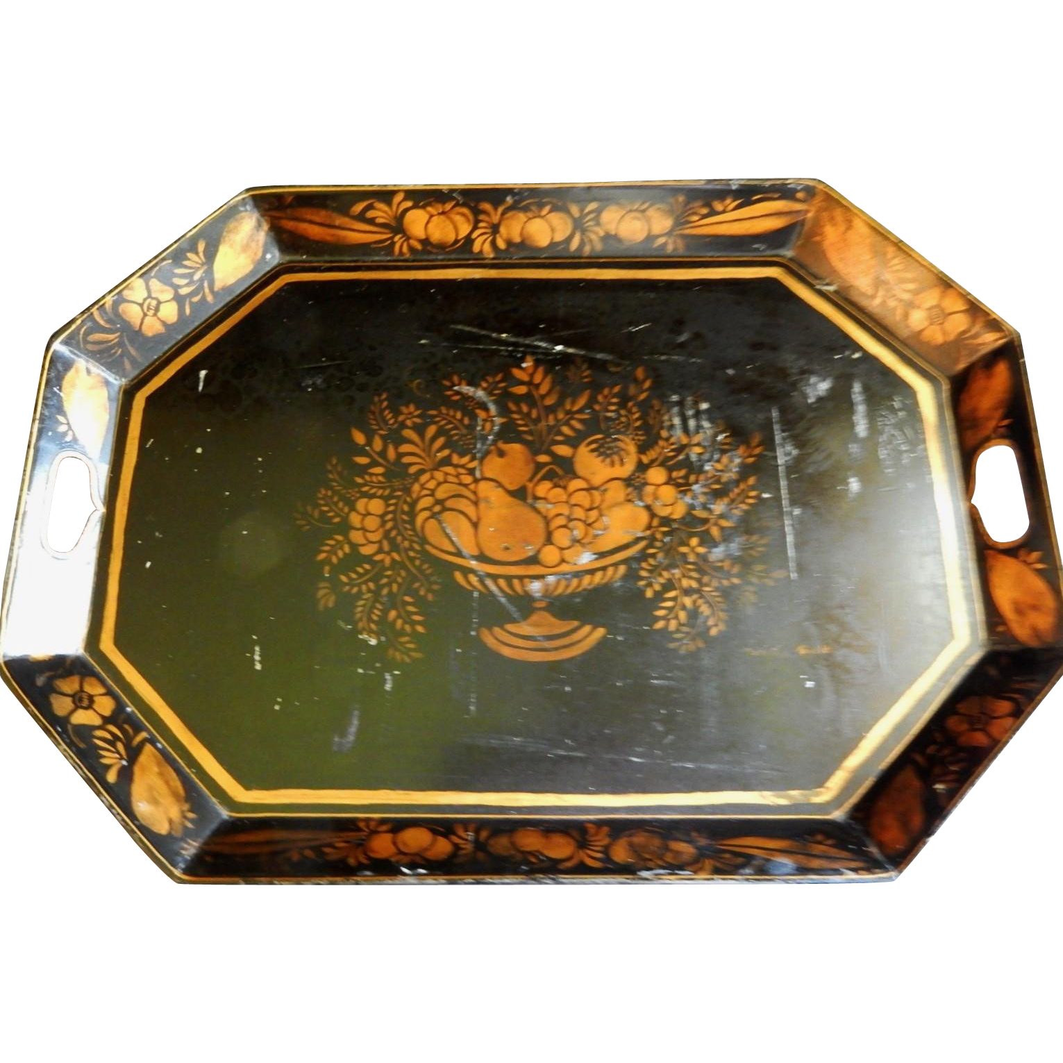 Stenciled Tin Toleware Tray with Gold Fruit & Floral Decoration on Black