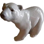 "Lladro ""Attentive Polar Bear"" Porcelain Sculpture #1207"