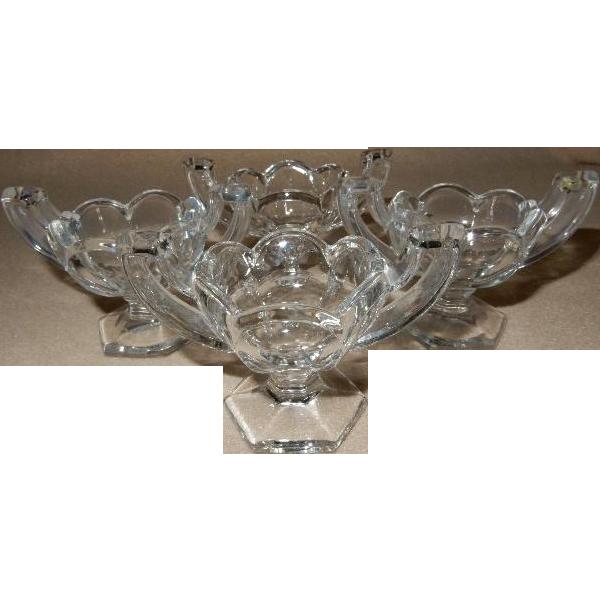 "Jefferson Glass Company ""Krys-Tol"" Chippendale Pattern Individual Salt Dishes - Set of 6"