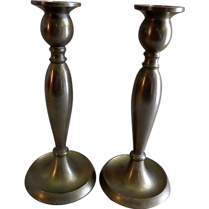 Pair of Bradley & Hubbard Bronze Baluster Arts & Crafts Candlesticks