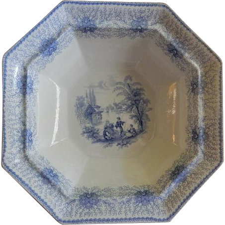 "William Adams & Sons ""Persia"" Pattern Blue Transfer Open Vegetable Bowl"