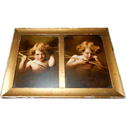 Double Rectangular Framed M B Parkinson Prints - Cupid Awake & Cupid Asleep