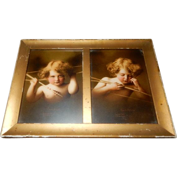 Double Rectangular Framed M B Parkinson Prints - Cupid Awake & Cupid Asleep