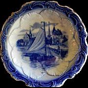 Semi-Porcelain Blue & White Delft Motif Plate w/Dutch Canal Scene
