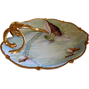 Hand Painted Porcelain Shallow Serving Dish w/Ocean Seascape Motif