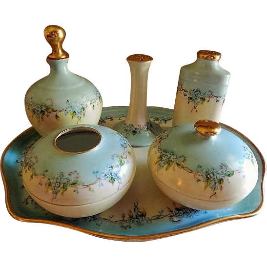 "Hand Painted Porcelain ""Forget Me Not"" Pattern 9-Piece Dresser/Vanity Set - Artist Signed & Dated"