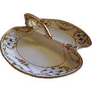 """Nippon Hand Painted """"Blue Birds & Encrusted Gold"""" Divided Serving/Relish Dish"""