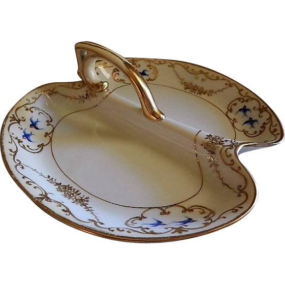 "Nippon Hand Painted ""Blue Birds & Encrusted Gold"" Divided Serving/Relish Dish"