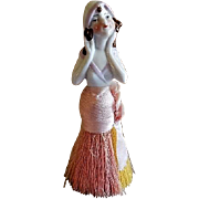 "German Porcelain ""Flapper"" Half Doll Vanity Clothes Brush"