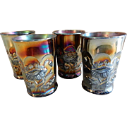 "Northwood Purple/Amethyst Carnival Glass ""Oriental Poppy"" Pattern Tumblers - Set of 4"