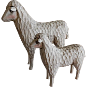 "Vintage ""Folk Art"" Hand Carved Pair of Sheep Figures"