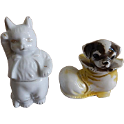 Japan Figurines - Cat Saluting and Puppy in a Shoe